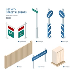Set with isometric street elements City exterior vector image