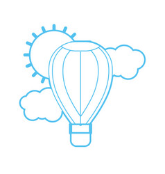 Silhouette air balloon in the sky with clouds and vector