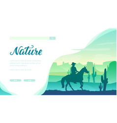 silhouette cowboy riding a horse in wild west vector image
