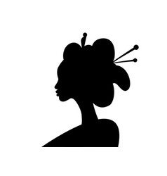 silhouette young japanese girl ancient hairstyle vector image