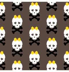 Skull with a bow seamless pattern background vector image vector image