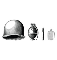 Soldier accessories set hand draw vintage style vector