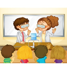 Students doing science experiment in classroom vector