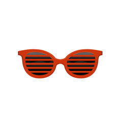 Stylish jalousie sunglasses with red frame and vector