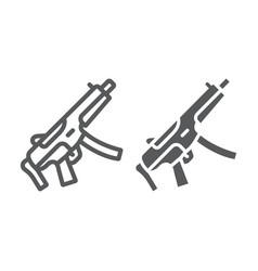 Submachine gun line and glyph icon army vector