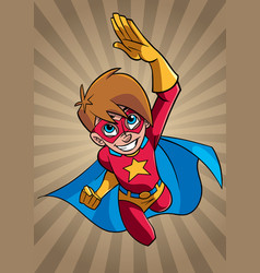 super boy flying ray light background vector image