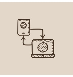 Synchronization smartphone with laptop sketch icon vector