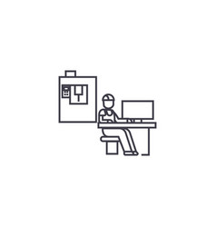 Technician workplace line icon sign vector