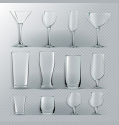 transparent glass set transparent empty vector image