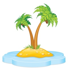 Tropic Island with Coconut Palm vector