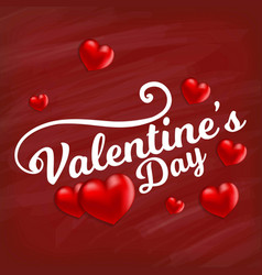 valentines day card with red pattern background vector image
