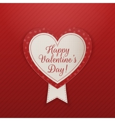 Valentines Day Heart Label with Text and Ribbon vector