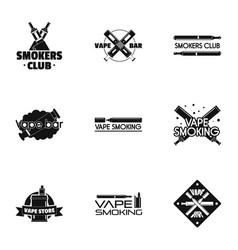 Vape club logo set simple style vector