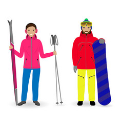 Winter sport people man with a snowboard and vector