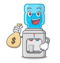With money bag cartoon water cooler for office and vector