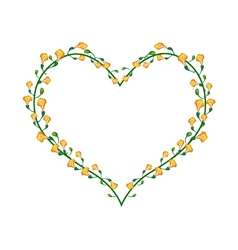 Yellow Padauk Flowers in A Heart Shape vector image