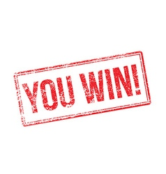 You win red rubber stamp on white vector