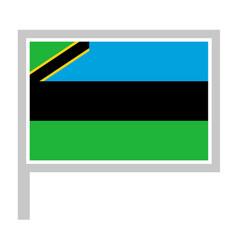 Zanzibar flag on flagpole icon vector
