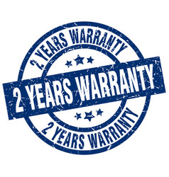 2 years warranty blue round grunge stamp vector image vector image