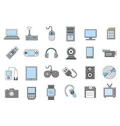 Computer technologies icons set vector image