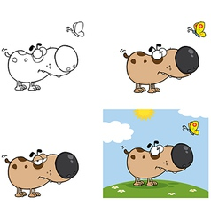 Dog with Butterfly Collection vector image vector image
