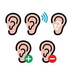 Ear hearing aid deaf person - health problem icon vector image