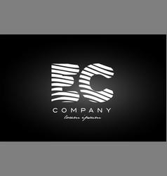 Ec e c letter alphabet logo black white icon vector