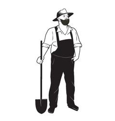 Farmer with shovel vector image vector image