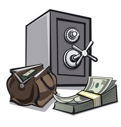 safe and dollars vector image vector image