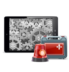 Tablet PC with Emergency Kit vector image
