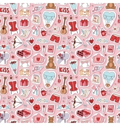 Valentine Day icons seamless pattern vector image vector image