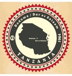 Vintage label-sticker cards of Tanzania vector image vector image