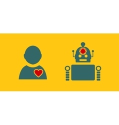 Cute vintage robot and human vector image