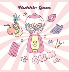 hand drawn bubble gum machine with gumballs vector image