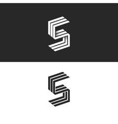 Letter S logo isometric black and white typography vector image vector image