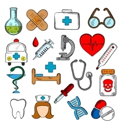 Medicine and medication icons set vector image vector image