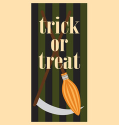 trick or treat halloween broom and scythe handles vector image vector image