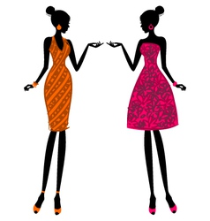 Fashion girls in summer dresses vector