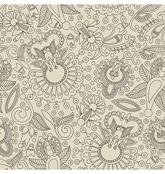 hand draw ornate floral seamless pattern vector image vector image