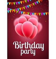 happy birthday card with pink balloons and vector image vector image