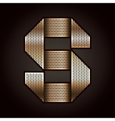 Letter metal gold ribbon - S vector image