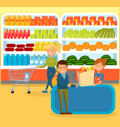 people shopping at supermarket choosing products vector image