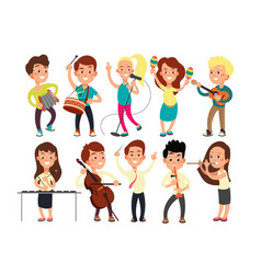 schoolkids playing music on stage children vector image