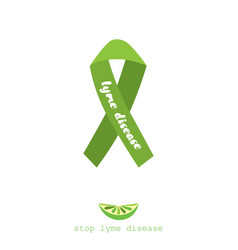 stop lyme disease poster design with green ribbon vector image