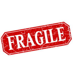 Fragile red square vintage grunge isolated sign vector