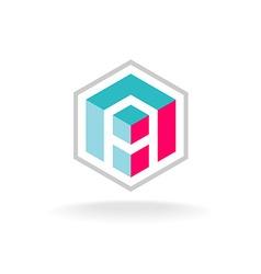 Letter A 3D cube construction hex logo vector image vector image