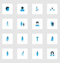 person colorful icons set collection of head vector image vector image