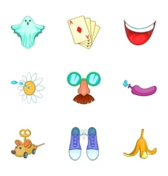 Trick icons set cartoon style vector