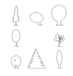 wood outline set vector image