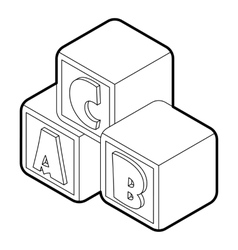 Alphabet cubes with letters ABC icon vector image